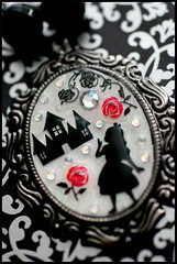 Painting The Roses Red (stOOpidgErL) Tags: red roses white house black flower metal silver diy necklace handmade craft jewelry plastic kawaii cameo resin pendant aliceinwonderland stoopidgerl