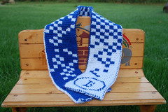 Double knit Scarf 2 (Poopshe_Bear) Tags: scarf square knitting acrylic handmade knit handknit knitted bluewhite whiteblue exchequered
