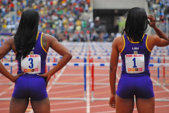 We Can Do This. (Starmaker Photos) Tags: carnival woman black college philadelphia sports field female race photography athletic athletics university track pennsylvania muscular young running run pa penn africanamerican runner sprint 2008 hurdles relays sprinting bopr