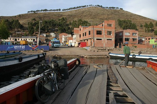 The Koga on the raft...Tiquina, Bolivia.