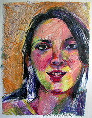 Katie (from the series Party Girls) 2008 (rina miriam) Tags: katie heads crayon partygirls