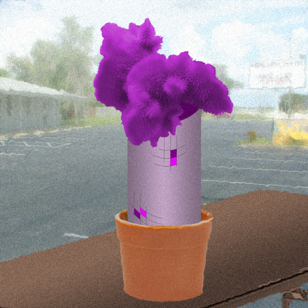 conjured up a purple flower