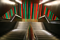 Turbine Hall stairs, Tate Modern (ec1jack) Tags: uk red england green london art stairs britain tatemodern turbinehall canoneos350d kierankelly dominiquegonzalezfoerster ec1jack