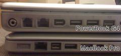 Fe welwch chi fod y MacBook Pro yn sylweddol deneuach nar hen PowerBook