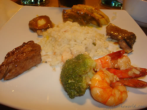 Second Dinner at Boracay Regency: Main course of Shrimps and Various Meat