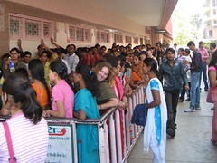 Lauren waits for movie tickets on the ladies' line - Raj Mandir, Jaipur, India