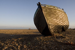 Little & large (woolyboy) Tags: uk beach boats kent decay bluesky dungeness clinker woolyboy