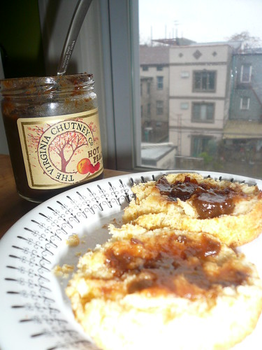 Hot Peach chutney on biscuits