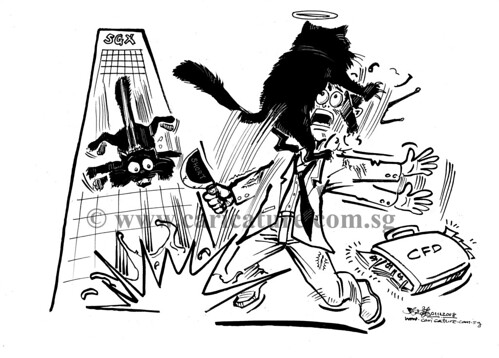 Comic strip illustration - Dead Cat Bounce watermark