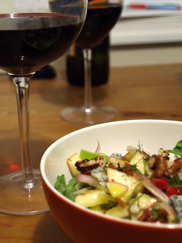 salad and wine