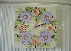 relogio flores (Imer atelie) Tags: flores brasil artesanato rosas decorao parede numeros pintura mdf lilas horas uberaba relogio atelie ponteiros imer