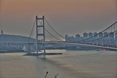 HDR016s (Jantzen Ma) Tags: bridge sunset skyline port landscape hongkong nikon sundown magic magichour pinkclouds lantauisland tsingmabridge d90 tsingyi 18105mm d90kit
