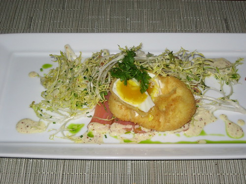 Young frisee salad, smoked salmon loin, poached/breaded/fried organic egg