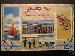 Hermosa Beach postcard 1940s (Ron Felsing) Tags: 1940s hermosabeach oldpostcard 90254