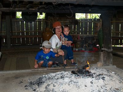 Fire at the Bidayuh longhouse