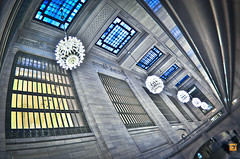 Memory Lane (glasseyepictures) Tags: street new york city nyc travel blue windows people apple colors beautiful station yellow lens photography lights big nikon colorful long metro corridor grand tourist historic passengers fisheye chandelier historical nikkor hdr travelers 42nd centraltrainterminal d7000