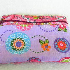 Zipper Pouch- Pink Paisely Floral Print Fabric