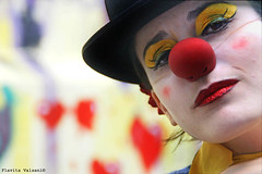A day with clowns (flavita.valsani) Tags: red portrait woman white streetart black liz argentina face yellow graffiti circo friendship circus clown makeup sampa act palhao laughs vilamadalena supershot circonobeco cmera