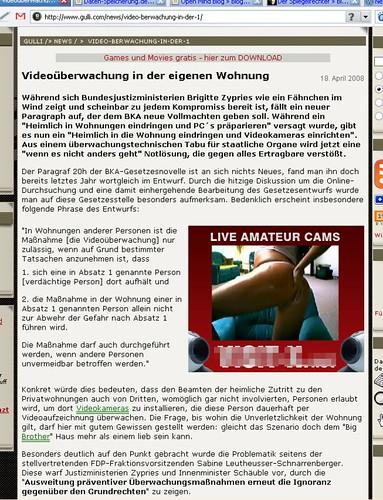 Videoüberwachung bei Gulli.com