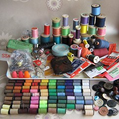 haberdashery from charity shop, 3 bargain (Joey's Dream Garden) Tags: stilllife macro thread closeup vintage sewing secondhand haberdashery bargains charityshop cottons cottonreels