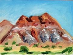 Red Rocks at Abiquiu (Tara Wheeler) Tags: landscape oilpainting abiquiu ghostranch okeeffe pleinair allaprima paintingaday dailypainting