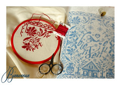 Bienvenue (Marika Belfiori) Tags: red france rouge crossstitch blu fil bleu bienvenue monde rosso francia pointdecroix scissor ciseaux forbici puntocroce renatoparolin isabellevautier