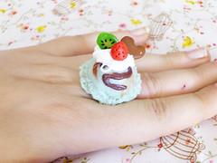 Sugar Overdose - Juicy Summer: chocomint ice-cream ring (Phoenix Filth) Tags: ice necklace beads sweet handmade cream charm ring clay icecream chic etsy hama perler accessory polymer