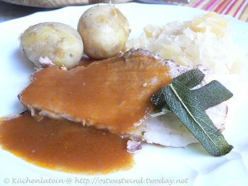 Schweinebraten mit Honigglasur und Ananaskraut 002