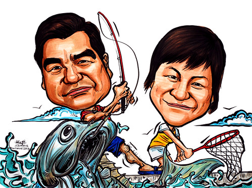 Couple caricatures fishing