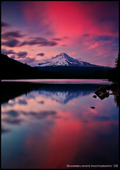Red Sky Over the Mountain (Darren White Photography) Tags: travel sunset red summer sky sun mountain snow cold west ice nature water clouds oregon forest advertising landscape volcano trillium nikon pacific northwest north scenic insects tourist bugs pacificnorthwest mounthood cascaderange trilliumlake d300 mywinners damniwishidtakenthat darrenwhitephotography