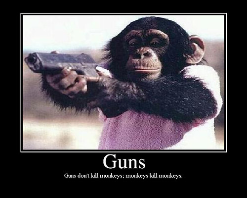 pictures of monkeys with guns. Guns