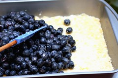 spreading the blueberry filling