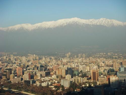 Santiago skyline + Los Andes