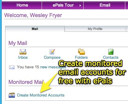 Create monitored email accounts free with ePals