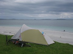 Camping on the beach on Berneray