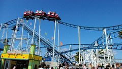 Weeeeeeeee (cwgoodroe) Tags: california carnival blue wedding summer santacruz sun color beach water sand surf candy games boardwalk rollercoaster