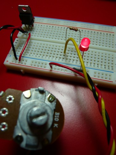 Breadboard with potentiometer and LED