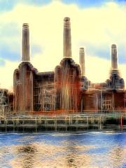 Battersea Power Station (james250) Tags: light shadow england sky reflection london art water sunshine thames clouds photoshop river colours fuji angle image surreal toned manipulate fractalius james250