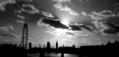 London Skyline (Loc BROHARD) Tags: city bridge sky blackandwhite panorama cloud london weather thames skyline river dark londoneye bigben londres anawesomeshot
