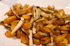 roasted butternut squash and pasnips