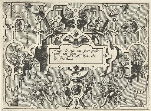Cartouche met grotesken, middenonder staat een kindtitel