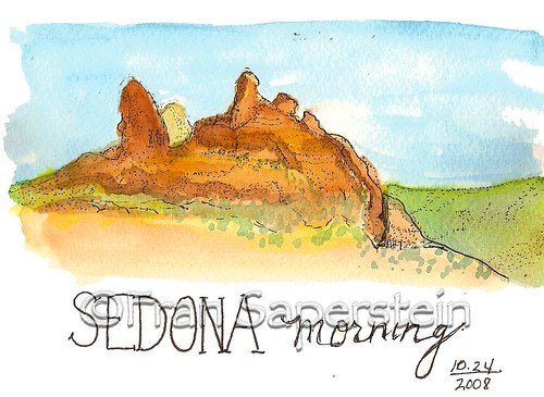 Sedona Morning - Pen and Ink with watercolor on 140# CP Watercolor Paper