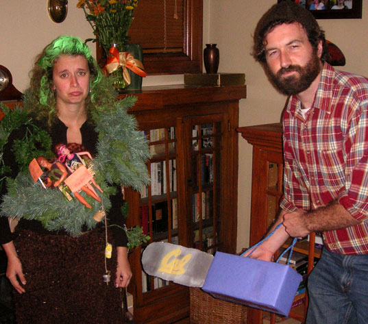 inhabitat green halloween costume contest, green halloween contest winners, inhabitat halloween contest, sustainable halloween costumes, green halloween costumes, halloween costume ideas, Tree And Lumberjack