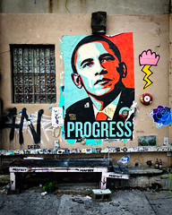 Progress (Breslow) Tags: poster hope graffiti politics obey progress change save10 savedbythedeltemeuncensoredgroup shepardfairey election2008 barackobama breslow nikond3