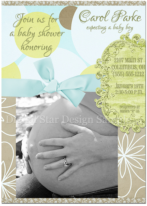 Baby Shower Invitation Sample, 7x5 (web size)