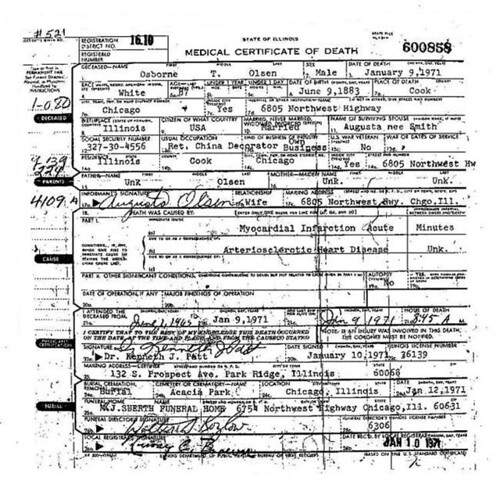 Osborne Theomun Olsen (1883-1971) death certificate.