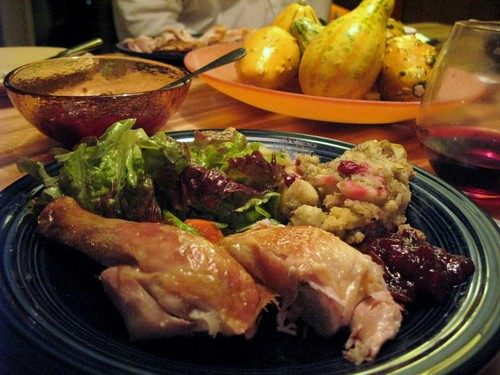 Roast Chicken with Green Salad, Dressing and Cranberries