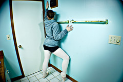 Welcome to my bathroom (zebra.paperclip) Tags: pink ballet fall broken project pose tile point bathroom dance nikon