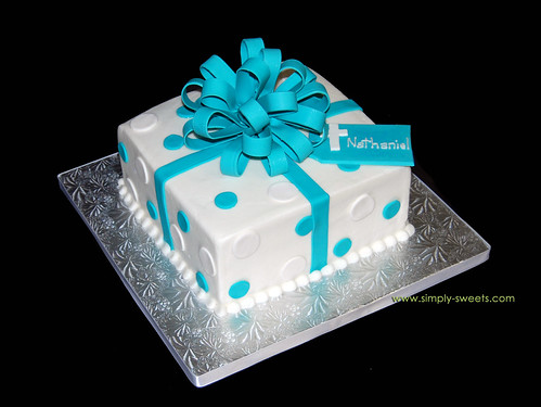 blue and white baptism package cake
