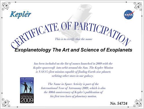 Kepler Certificate